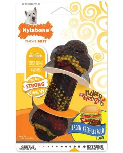 Nylabone Rubber Strong Chew os au cheeseburger au bacon S - La Compagnie des Animaux