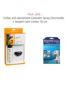 Pack -10% : Collier anti aboiement Canicalm Spray Citronnelle + Adaptil Calm Collier 70 cm