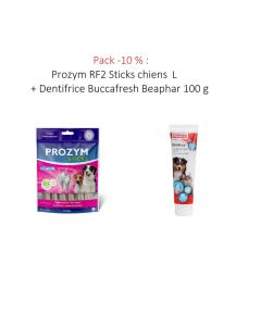 Pack -10 % : Prozym RF2 Sticks chiens L + Dentifrice Buccafresh Beaphar 100 g