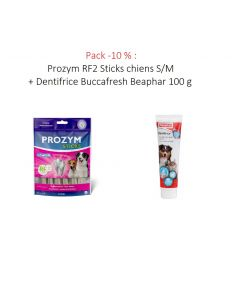 Pack -10 % : Prozym RF2 Sticks chiens S/M + Dentifrice Buccafresh Beaphar 100 g