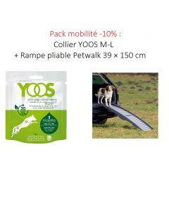 Pack mobilité -10% : Collier YOOS M-L + Rampe pliable Petwalk en 3 parties 39 × 150 cm