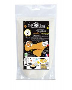 PetCooking Préparation Mini-Friandises Biscuits Carotte-Curcuma pour chat 150 g