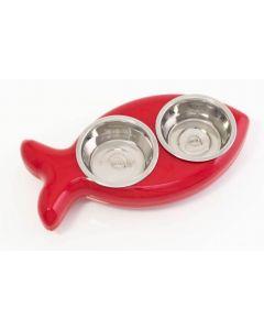 Plateau et Gamelles Fish Bowl pour chat rouge - La Compagnie des Animaux