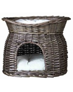 Trixie Panier osier gris avec lit au dessus pour chat- La Compagnie des Animaux -