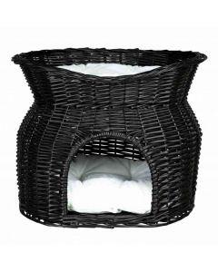 Trixie Panier osier noir avec lit au dessus pour chat - La Compagnie des Animaux