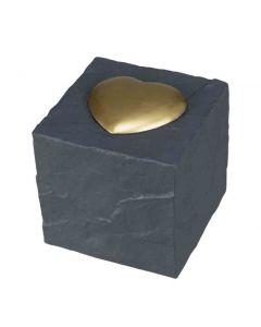 Trixie Pierre commémorative cube avec cœur grise 11 × 11 × 11 cm