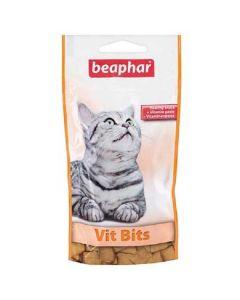 • Contient de la Taurine • Enrichi en vitamines Vit Bits de Beaphar sont de délicieuses friandises fourrées d'une pâte enrichie aux vitamines. Elles sont contiennent de la taurine qui a une action bénéfique pour le cœur et les yeux des chats.