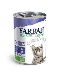 Yarrah Bio Bouchées de poulet et dinde en sauce aux orties et à la tomate pour chat 12 x 405 grs- La Compagnie des Animaux