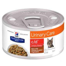 Hill's Prescription Diet Feline C/D Urinary Stress mijotés au poulet et légumes 24 x 82 grs